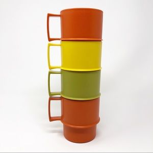 Vintage Tupperware Stacking Mugs Cups, Set of 4